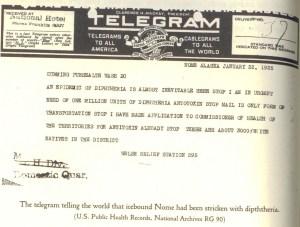 Telegrama enviado por el doctor Welch